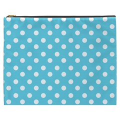 Sky Blue Polka Dots Cosmetic Bag (XXXL)