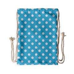 Sky Blue Polka Dots Drawstring Bag (Small)