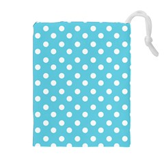 Sky Blue Polka Dots Drawstring Pouches (Extra Large)