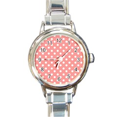 Coral And White Polka Dots Round Italian Charm Watches