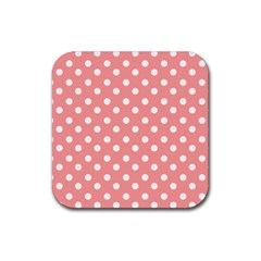 Coral And White Polka Dots Rubber Square Coaster (4 pack)