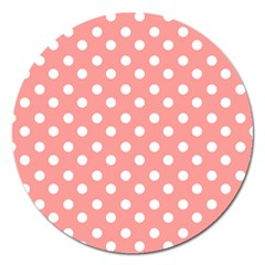 Coral And White Polka Dots Magnet 5  (Round)