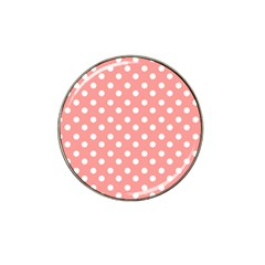 Coral And White Polka Dots Hat Clip Ball Marker (10 pack)