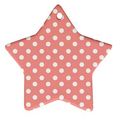Coral And White Polka Dots Star Ornament (Two Sides)
