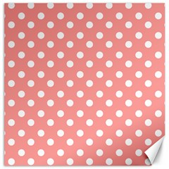 Coral And White Polka Dots Canvas 20  x 20