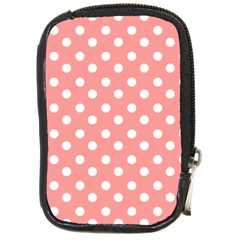 Coral And White Polka Dots Compact Camera Cases