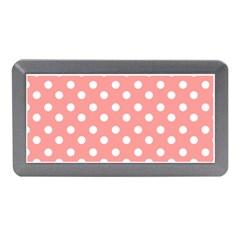 Coral And White Polka Dots Memory Card Reader (Mini)