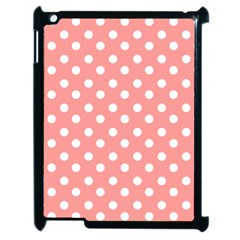 Coral And White Polka Dots Apple iPad 2 Case (Black)