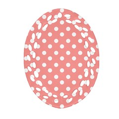 Coral And White Polka Dots Oval Filigree Ornament (2 Side)
