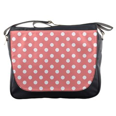 Coral And White Polka Dots Messenger Bags