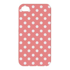 Coral And White Polka Dots Apple iPhone 4/4S Premium Hardshell Case