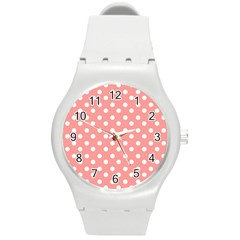 Coral And White Polka Dots Round Plastic Sport Watch (M)