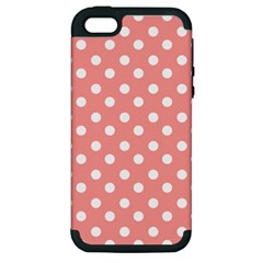 Coral And White Polka Dots Apple iPhone 5 Hardshell Case (PC+Silicone)