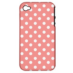 Coral And White Polka Dots Apple iPhone 4/4S Hardshell Case (PC+Silicone)