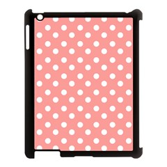Coral And White Polka Dots Apple iPad 3/4 Case (Black)