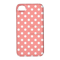 Coral And White Polka Dots Apple iPhone 4/4S Hardshell Case with Stand