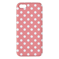 Coral And White Polka Dots Apple iPhone 5 Premium Hardshell Case