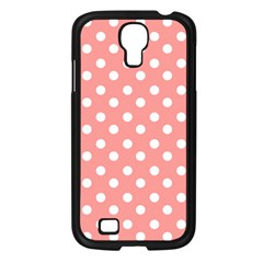 Coral And White Polka Dots Samsung Galaxy S4 I9500/ I9505 Case (Black)