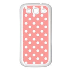 Coral And White Polka Dots Samsung Galaxy S3 Back Case (White)