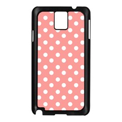 Coral And White Polka Dots Samsung Galaxy Note 3 N9005 Case (Black)