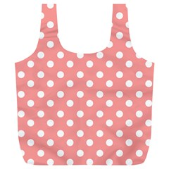 Coral And White Polka Dots Full Print Recycle Bags (l)