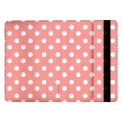 Coral And White Polka Dots Samsung Galaxy Tab Pro 12.2  Flip Case