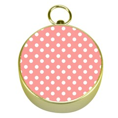 Coral And White Polka Dots Gold Compasses