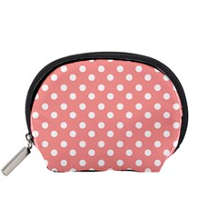 Coral And White Polka Dots Accessory Pouches (Small)