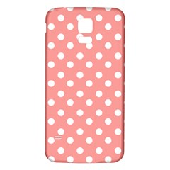 Coral And White Polka Dots Samsung Galaxy S5 Back Case (white)