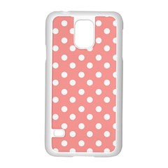 Coral And White Polka Dots Samsung Galaxy S5 Case (White)