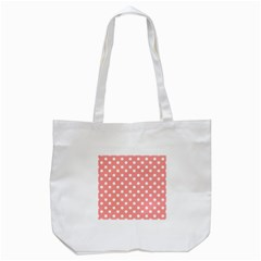 Coral And White Polka Dots Tote Bag (White)