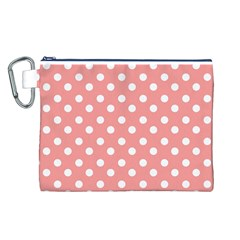 Coral And White Polka Dots Canvas Cosmetic Bag (L)