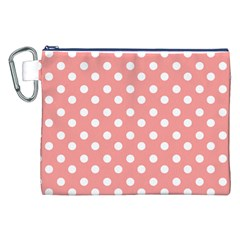 Coral And White Polka Dots Canvas Cosmetic Bag (XXL)