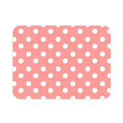 Coral And White Polka Dots Double Sided Flano Blanket (mini)