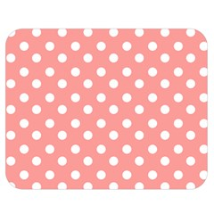 Coral And White Polka Dots Double Sided Flano Blanket (medium)