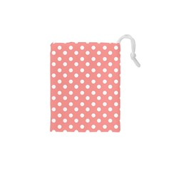 Coral And White Polka Dots Drawstring Pouches (xs)