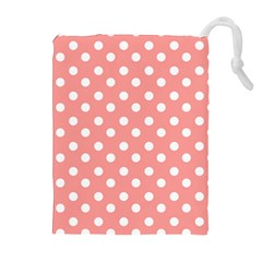Coral And White Polka Dots Drawstring Pouches (extra Large)