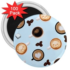 Cute Coffee Pattern on Light Blue Background 3  Magnets (100 pack)