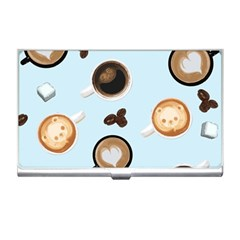 Cute Coffee Pattern on Light Blue Background Business Card Holders