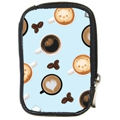 Cute Coffee Pattern on Light Blue Background Compact Camera Cases