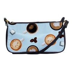 Cute Coffee Pattern on Light Blue Background Shoulder Clutch Bags