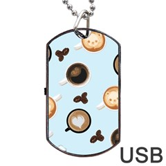 Cute Coffee Pattern on Light Blue Background Dog Tag USB Flash (One Side)