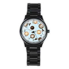 Cute Coffee Pattern on Light Blue Background Stainless Steel Round Watches