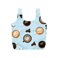 Cute Coffee Pattern on Light Blue Background Full Print Recycle Bags (S)