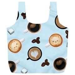 Cute Coffee Pattern on Light Blue Background Full Print Recycle Bags (L)