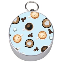 Cute Coffee Pattern on Light Blue Background Silver Compasses