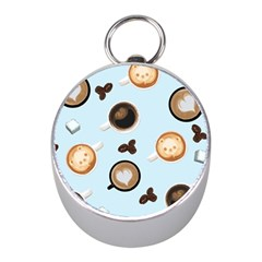Cute Coffee Pattern on Light Blue Background Mini Silver Compasses