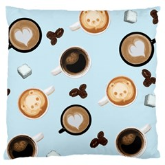 Cute Coffee Pattern On Light Blue Background Large Flano Cushion Cases (one Side)