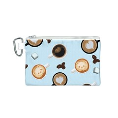 Cute Coffee Pattern on Light Blue Background Canvas Cosmetic Bag (S)