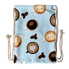 Cute Coffee Pattern On Light Blue Background Drawstring Bag (large)
